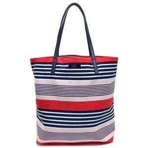 NWT Kate spade stripe canvas tote bon shopper bag